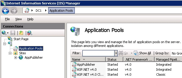 App Publisher website in IIS
